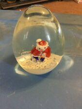 Unmarked Art Glass Paperweight Sulphide Santa Claus Christmas