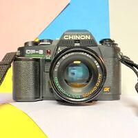 Chinon CP-6 Spot Twin Program 35mm SLR Film Camera & 50mm Prime Lens Lomo Retro
