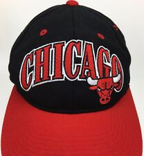 cf0e4036b72 Vtg Chicago Bulls Starter Hat Snap Back NBA Right Wool Acrylic Embroidered  90 s