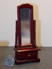 Dollhouse Miniature Dressing Standing Mirror Mahogany 1:12 one inch scale N21