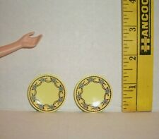 Re-Ment Doll Miniature Yellow Design Dessert Plates Accessory Lot Of Two Retired