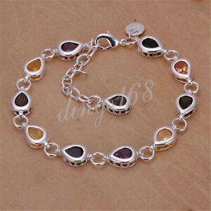 18K White Gold Filled Hypo-Allergenic MultiColor Large Heart Chain Bracelet Z919