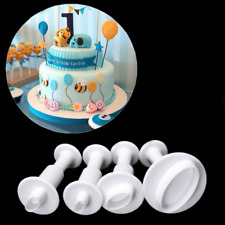 4pcs Oval Plunger Fondant Mold Cutter Cake Cookie Sugarcraft Decor Mould
