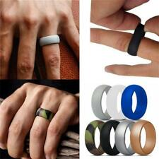Men Elegant Flexible Rubber Comfortable Ring Outdoor Sports Silicone Band Ring--