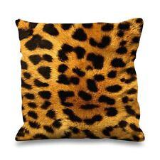Leopard Skin Print Faux Silk 45cm x 45cm Sofa Cushion