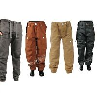 Boys Kids Enzo Designer Cuffed Jeans Regular Fit Chinos Trouser Pants 2-10 Years