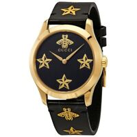 GUCCI G-Timeless Black Dial Black Leather Women's Watch New In Case