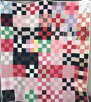 "Vintage 1970s Polyester Quilt Hand Quilted 72"" x 62"" Colorful Super Sweet"