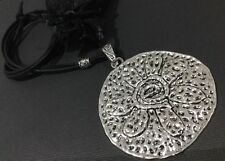 Long Suede Necklace With A Huge 80mm Statement Hammered Flower Disc Pendant