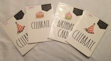 Rae Dunn Birthday Cards Lot Of 4, 1 - Cake, 1 - Cup Cake, 2 - Party Hat - Nip