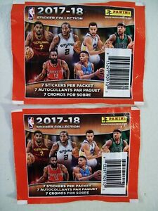 Panini NBA Basketball 2017-18 Album Sticker Cards, Two Sealed 7 Card Packs