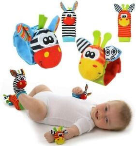 x4 Set - Infant Toy Baby Wrist Bands Socks Rattle Sensory Child Rattling Sound