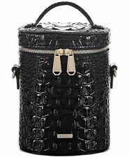 Authentic Brahmin Black Leather Croc Embossed Brynn Barrel Small Crossbody $265