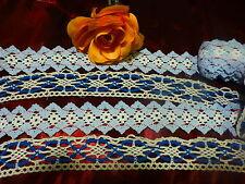 5m,40 en tout anciennes  dentelles coton ,bleues