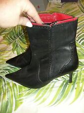 Black Leather Stiletto Ankle Boots (Size 8.5) BNWOT