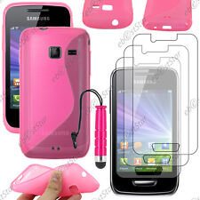 Housse Etui Coque Silicone Rose Samsung WAVE Y S5380 + Mini Stylet + 3 Films