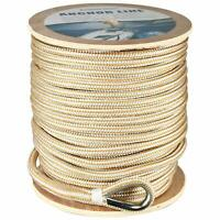 """3/8"""" x 600'  Double Braided Nylon Anchor Line with Thimble White/Gold Dock Line"""