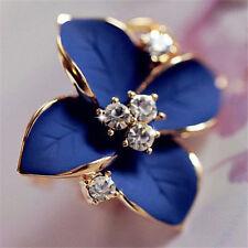 Women Elegant Crystal Rhinestone Ear Stud Camellia Flower Earrings Jewelry