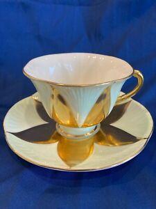 Rare Shelley Harlequin Petal Shaped Panels Mint Green Gold cup Saucer #11777