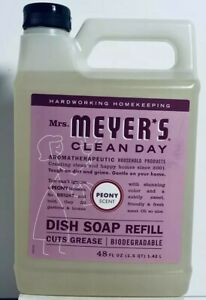 (1) Meyer's Clean Day PEONY Dish Soap Refill 48 fl. oz. Cuts Grease NEW/SEALED!!