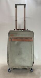 Hartmann Tan Nylon with Belting Leather Trim Spinner Exp Carry On Suitcase
