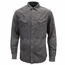 Grigio Large Wrangler Western Shirt Camicia in Jeans Uomo (grey Denim (ojg)