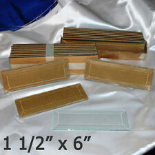 (Box of 30) 1-1/2 x 6 inch Clear Beveled Glass 1.5 x 6 Bevels are flat on back
