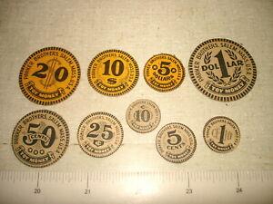 c1900 PARKER BROTHERS TOY MONEY Coin Set 9 pcs - 1c 5c 10c 25c 50c $1 $5 $10 $20
