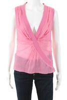 Catherine Malandrino Womens Sleeveless V-Neck Silk Blouse Top Pink Size Medium
