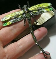 Large Vintage Style Jewellery Enamel Crystal DRAGONFLY Articulated Pin Brooch
