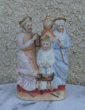 Superbe représentation religieuse -Céramique biscuit bas-reliefs rehausse or
