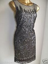 Monsoon Negro Josephine brillo de lentejuelas años 20 Gatsby Navidad Fiesta Noche Vestido 16