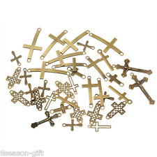 20PCs Bronze Tone Mixed Cross Pendant Connector Fit Bracelet Necklace Fashion