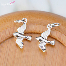 Sterling Silver Cute Little 3D Shiny Flying Bird Pendant Charm Necklace Bracelet
