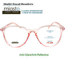 MIASTO MULTI-FOCAL COMPUTER READER READING GLASSES+1.50 NO LINE ANTI-GLARE~PINK