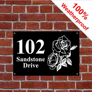 Custom Rose design house sign with name adress or other text 9152