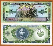 El Salvador, 5 Colones, 1990, P-138, UNC > Columbus, Pre-USD$