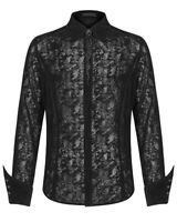 Punk Rave Mens Gothic Vampire Shirt Top Black Flocked Velvet Lace VTG Steampunk