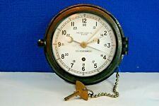"""☆ Us Government Chelsea Ships Clock 6"""" 12/24 Hr Dial Wwii Bakelite Case"""
