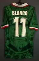 MEN'S MEXICO NATIONAL BLANCO 1998 WORLD CUP SOCCER FOOTBALL SHIRT JERSEY SIZE M