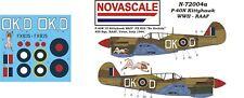 RAAF P-40N Kittyhawk Mini-Set Decals 1/72 Scale N72004a