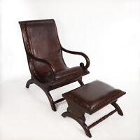 Vintage Echtleder Sessel Mit Fusshocker Lounge Holz Kolonialstil Retro Braun
