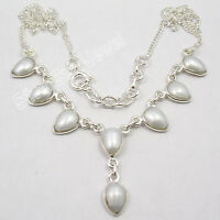 """925 Sterling Silver Beautiful AAA WHITE SEA PEARL LOVELY Necklace 17.7"""""""
