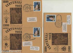 3 RARE GREAT BRITAIN SPECIAL FDC 1880-1980 CENTENARY TOUR, LANCS, NOTTS & SURREY