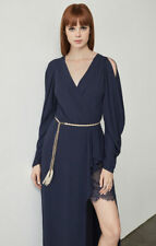 $298 NEW BCBG MAX AZRIA Koko Draped-Sleeve Gown Style #WQR66N14-4F1 SZ 4 Navy