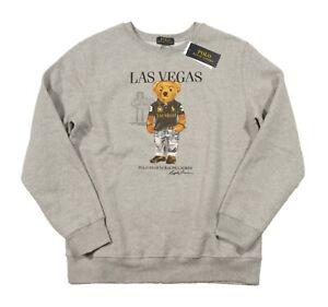 Polo Ralph Lauren Boys Grey Las Vegas Polo Bear Graphic Cotton Fleece Sweatshirt