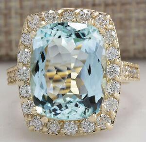 9.53 Carat Natural Aquamarine 14K Yellow Gold Diamond Ring