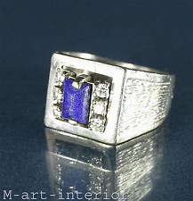 Damenring 585 Weißgold Lapislazuli Diamanten Brillant ca. 0,18ct. Gold Ring 14kt