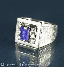 Damenring 585 Weißgold Lapislazuli Diamanten Brillant ca. 0,18ct. Gold Ring 14kt