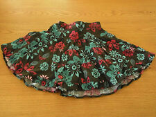 Like New Little Girls Pumpkin Patch Brown Floral Cord Skirt Size 3